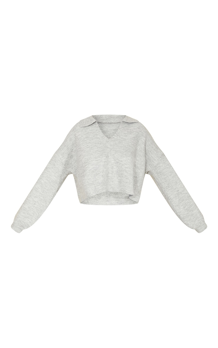 Light Grey Cosy Knit Collared Boxy Crop Jumper 5