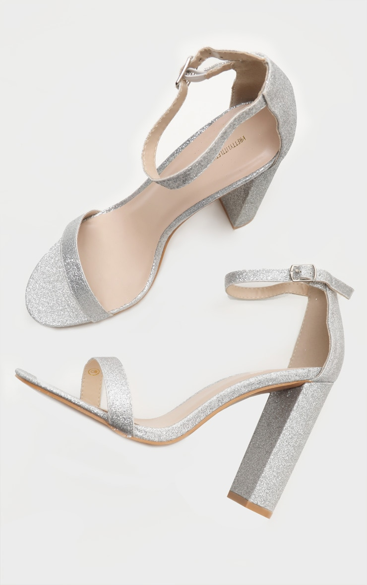 Silver Glitter May Heeled Sandals 3