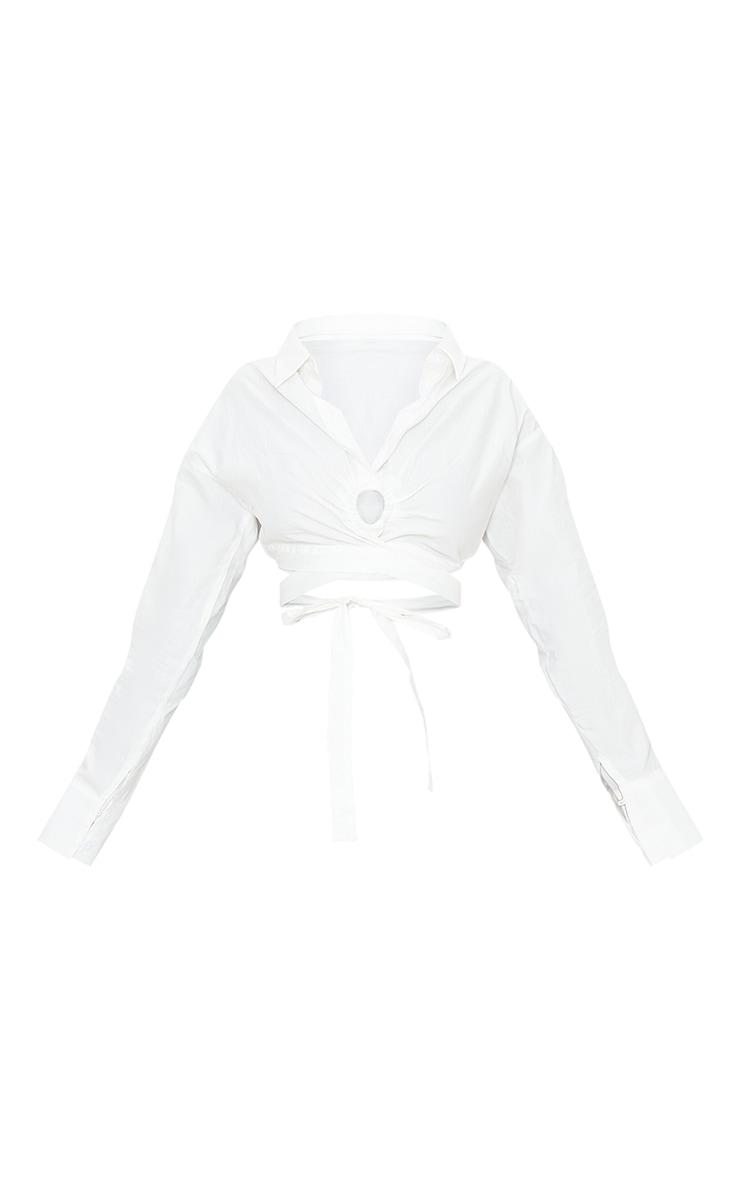 White Woven O Ring Cropped Shirt 5