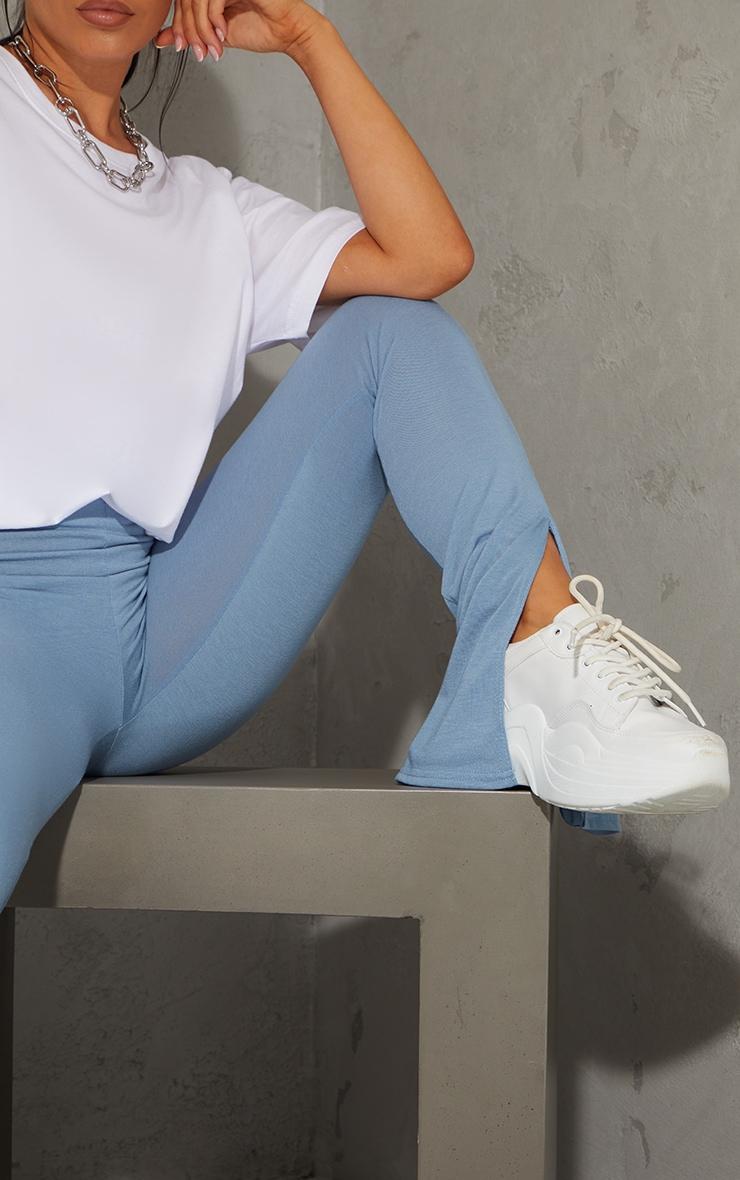 Light Blue Basic Jersey Split Hem Leggings 4