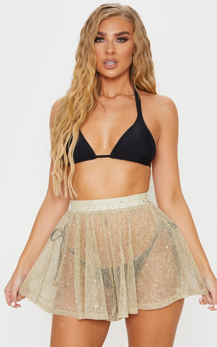 Gold Metallic Plisse Sequin Beach Short 1