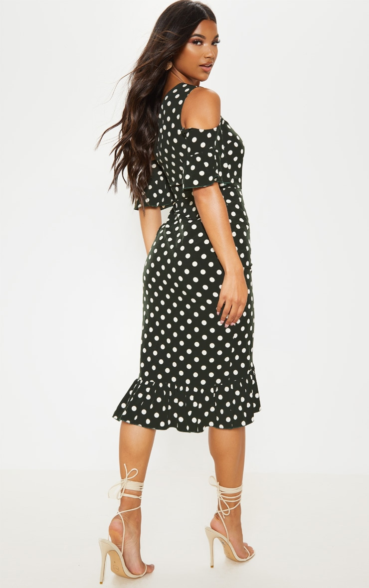 Forest Green Polka Dot One Shoulder Frill Sleeve Midi Dress 2