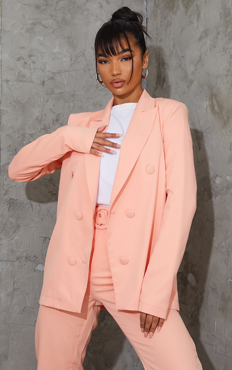 Peach Woven Triple Breasted Blazer 1