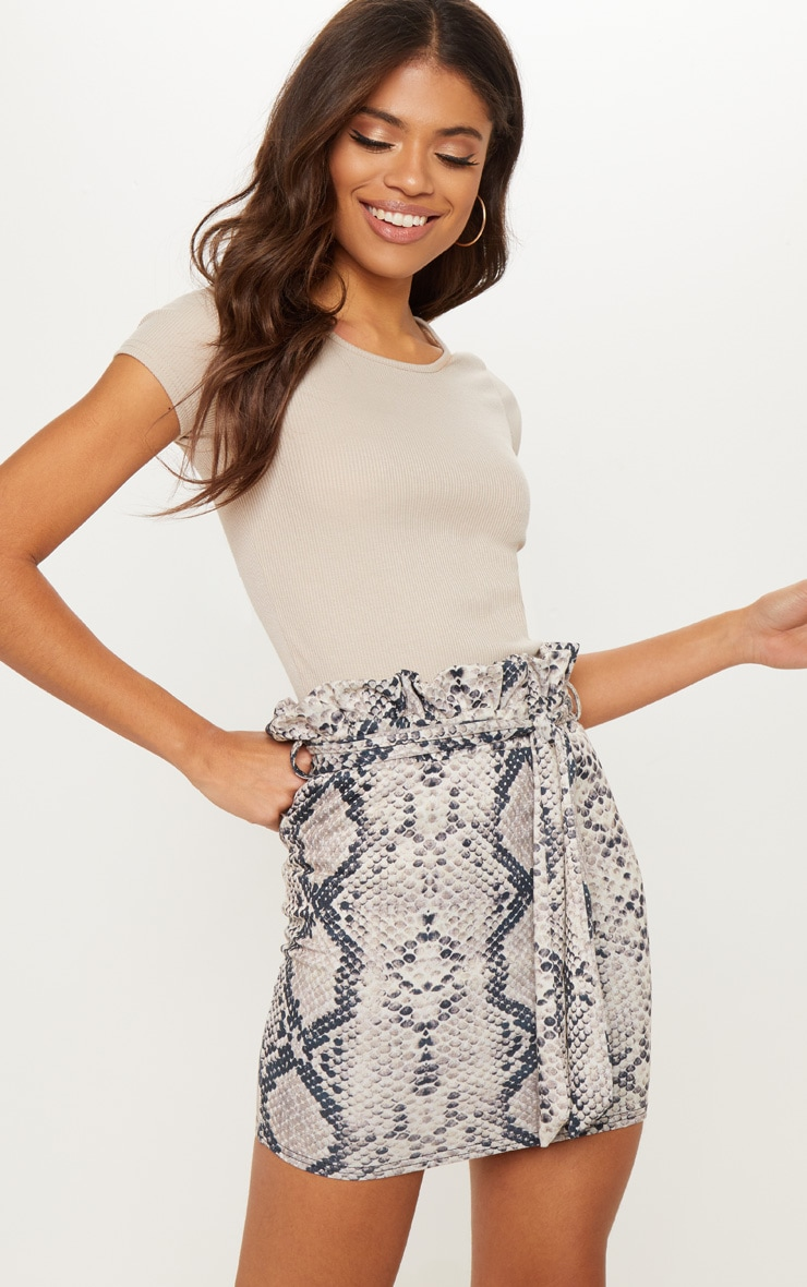Snakeskin Paperbag Waist Printed Mini Skirt