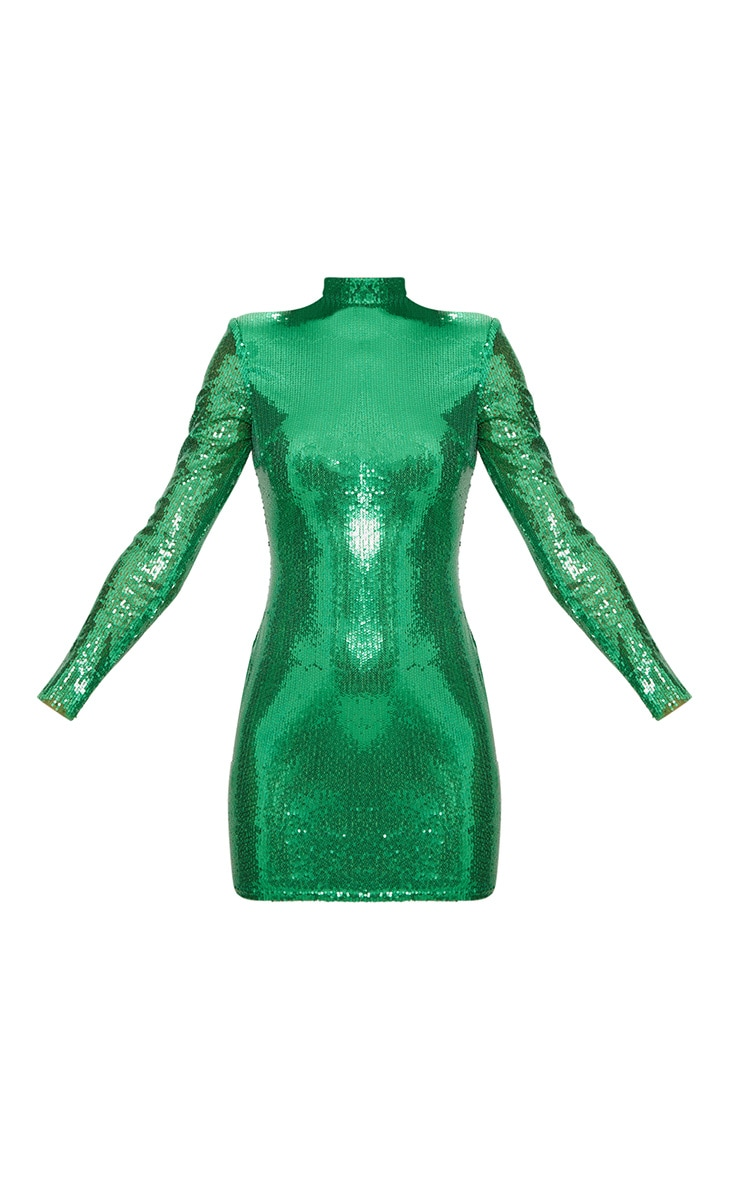 Robe moulante en sequins verts flashy à manches longues et épaulettes 4