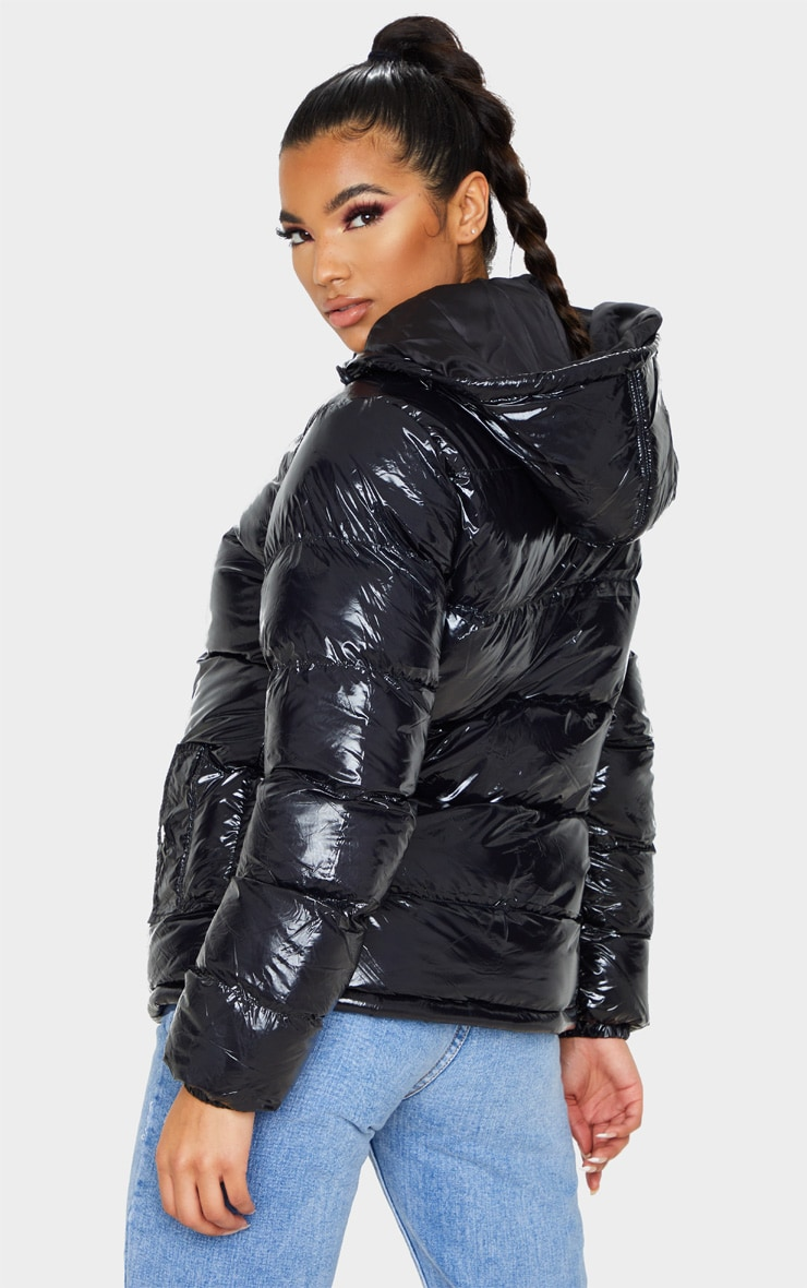Black High Shine Hooded Puffer Coat 2