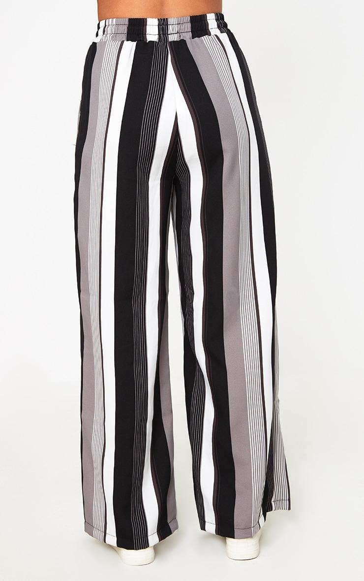 Black Stripe Wide Leg Trousers  4