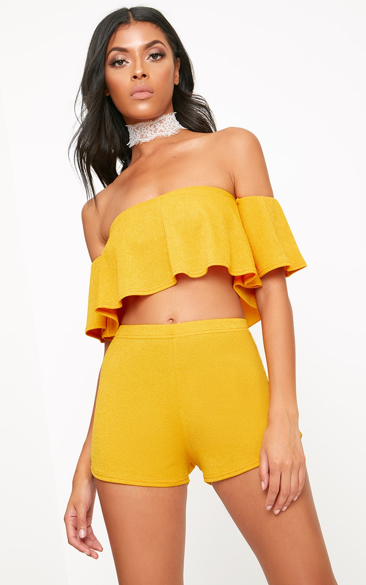 Mustard High Waisted Co-ord Shorts 5