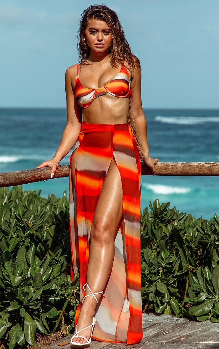 Orange Ombre Double Split Beach Maxi Skirt 3