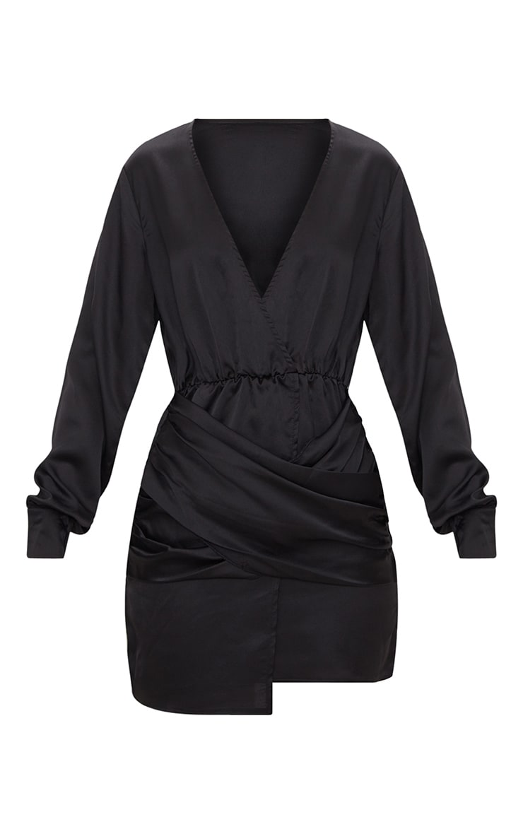 Black Long Sleeve Plunge Wrap Over Skirt Satin Bodycon Dress 3