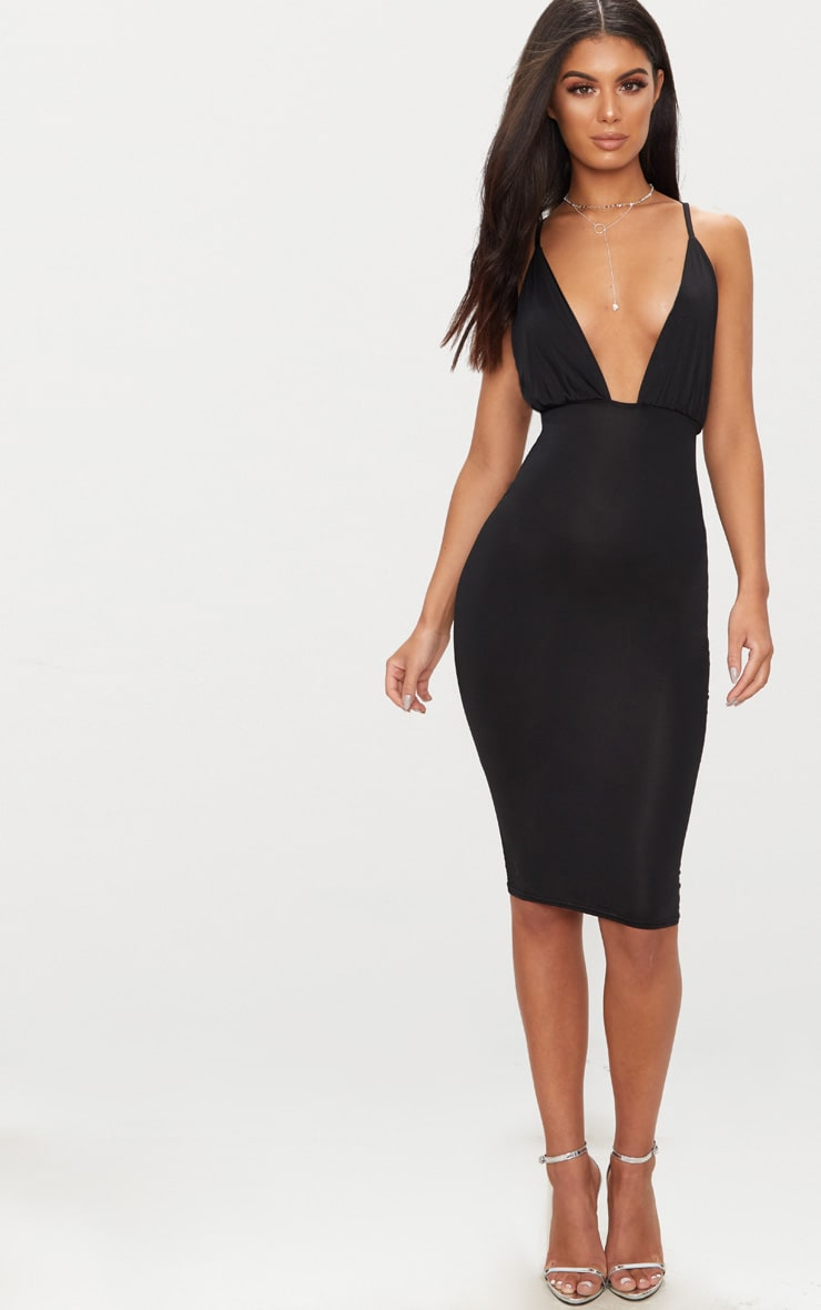 Black Double Layer Slinky Ruched Detail Cross Back Midi Dress 2