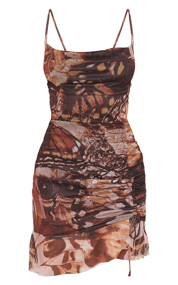 Petite Stone Butterfly Ruched Mesh Dress 5