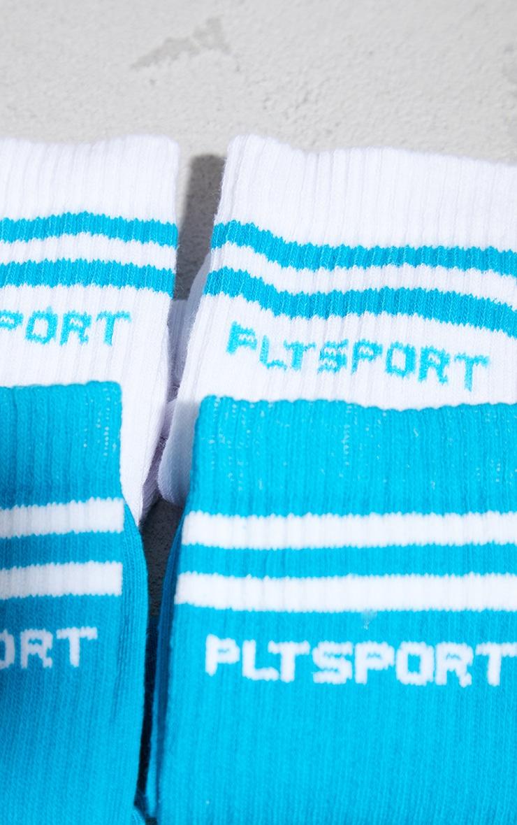PRETTYLITTLETHING Aqua 2 Pack Sport Socks 3