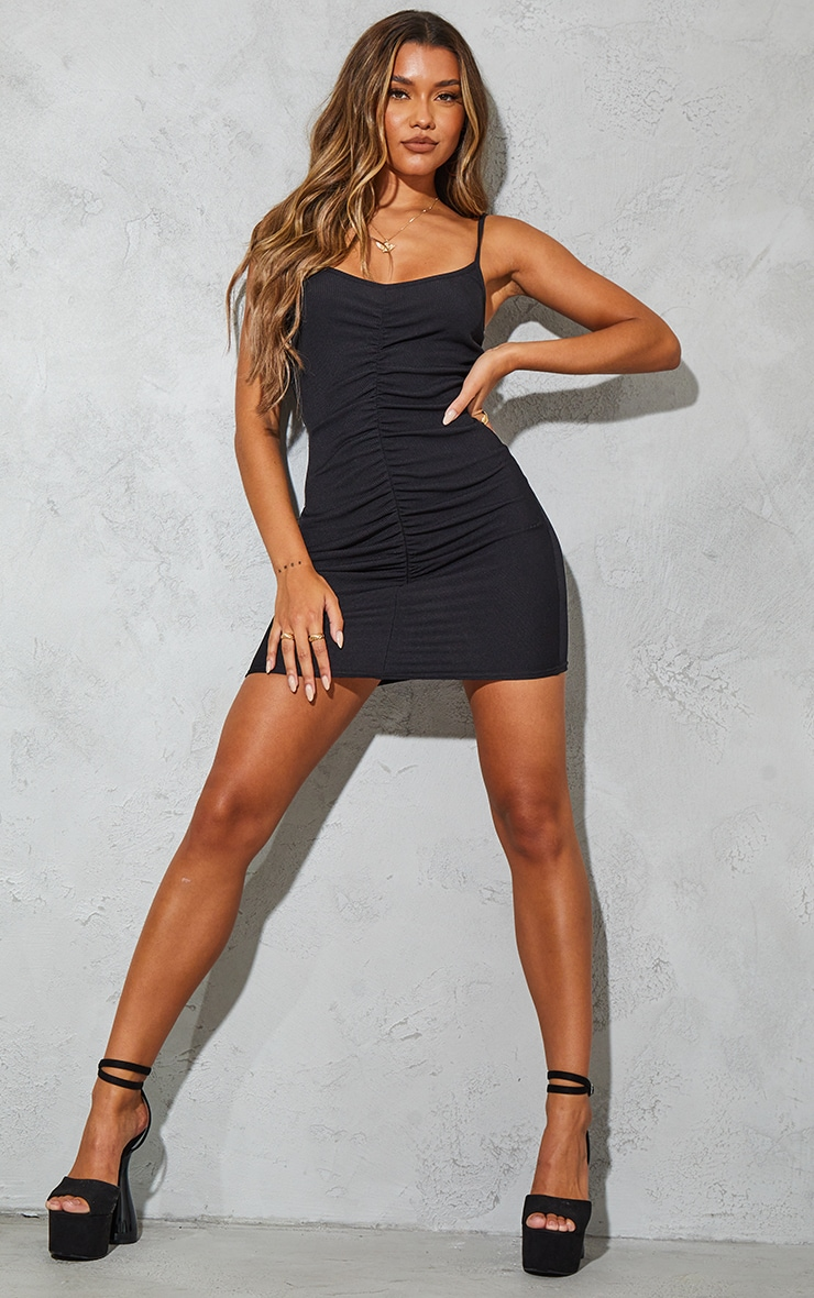Black Ribbed Strappy Gathered Front Bodycon Dress 3