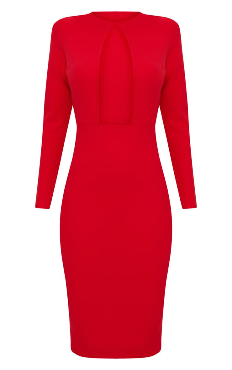 Red Cut Out Detail Midi Dress 3
