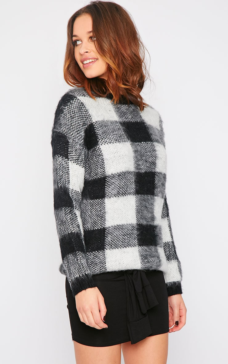 Poppy Black Checked Fluffy Jumper  4