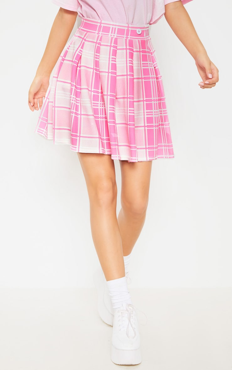 Pastel Pink Check Print Pleated Side Split Tennis Skirt  3