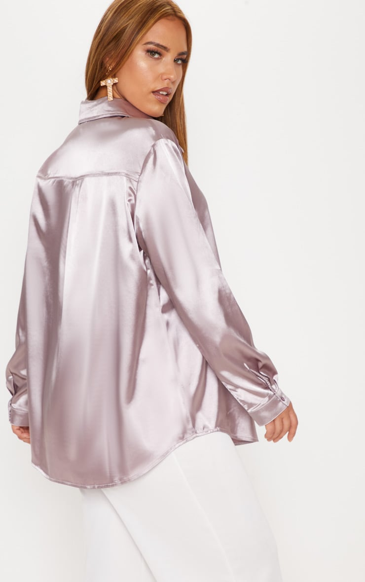 Plus Mink Satin Button Front Shirt 2