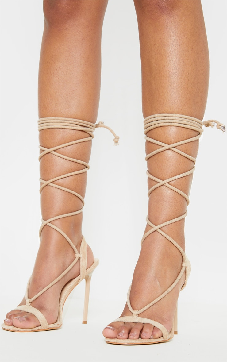 Nude Rope Ankle Tie Heeled Sandal 2