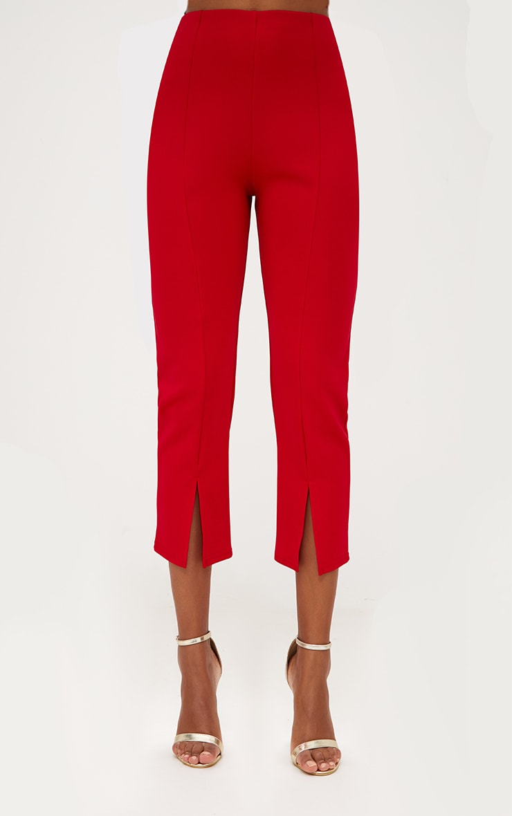 Red Front Split Straight Leg Trousers 2