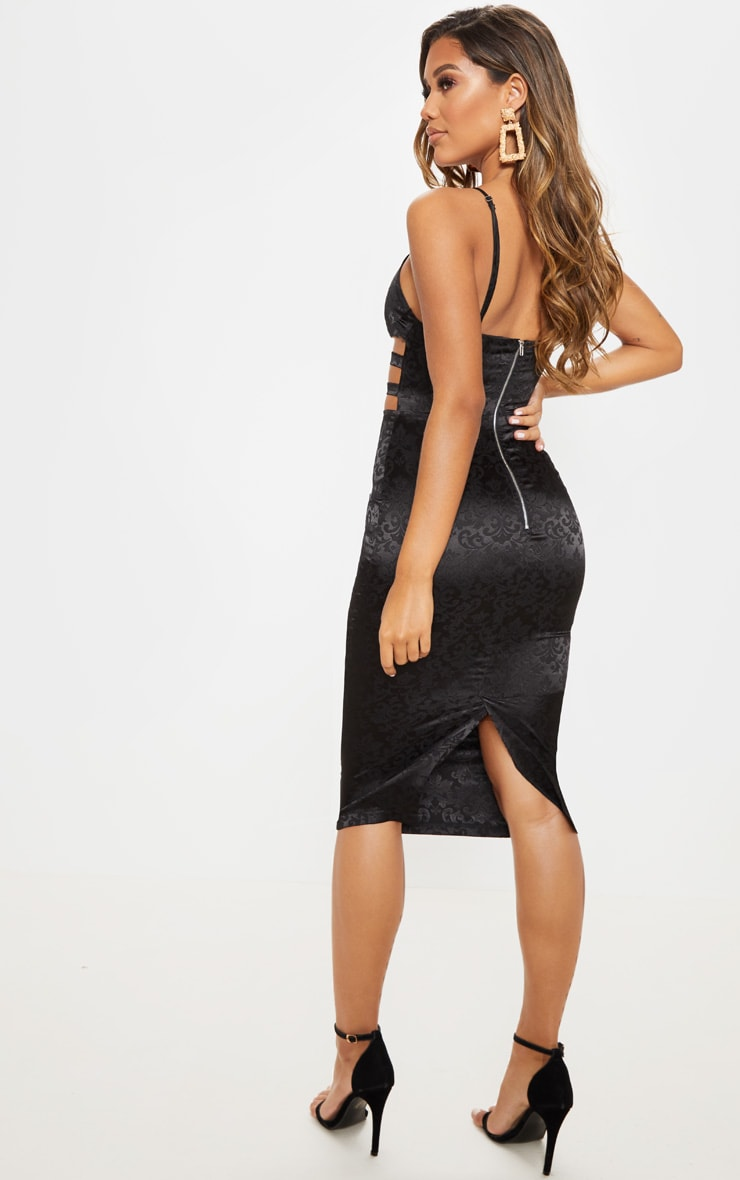 Black Satin Printed Cut Out Midi Dress  2