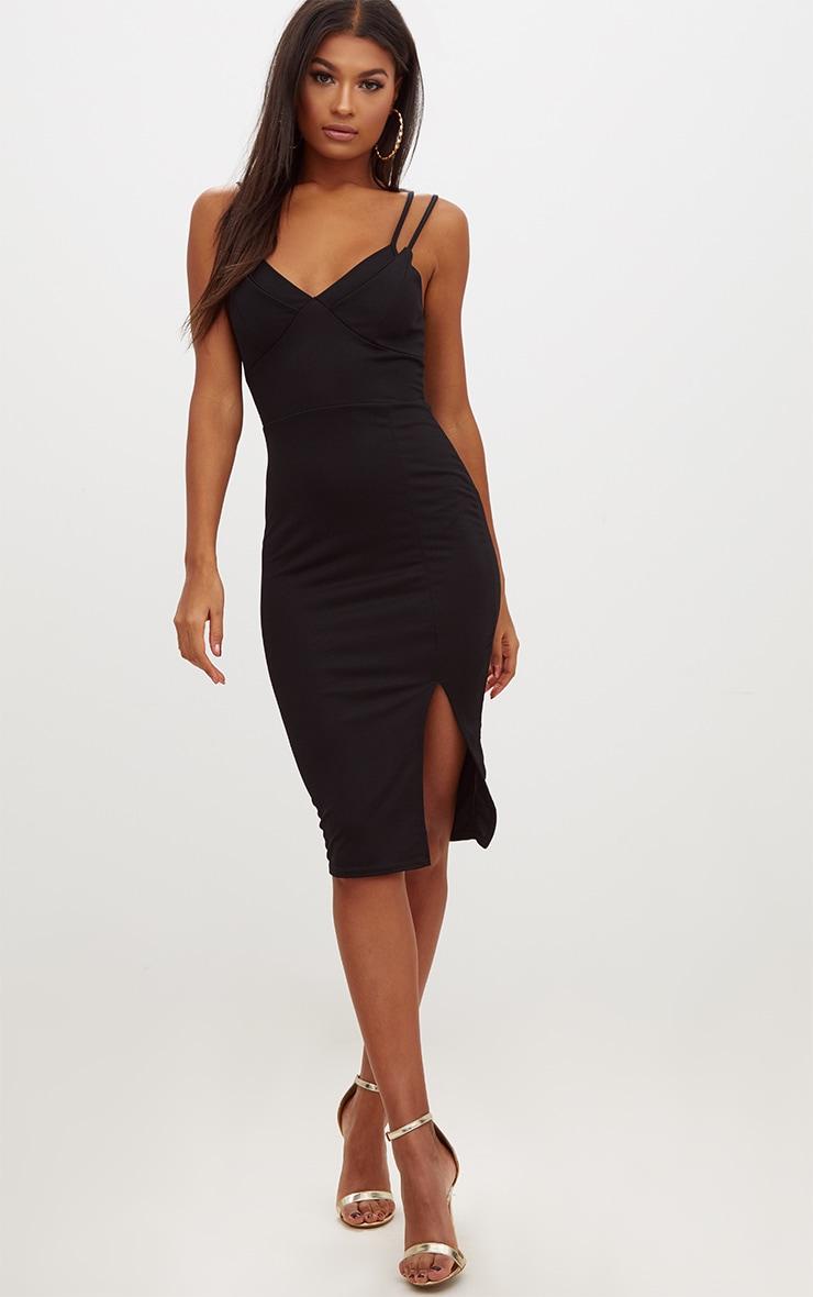 Black Double Strap Midi Dress 4