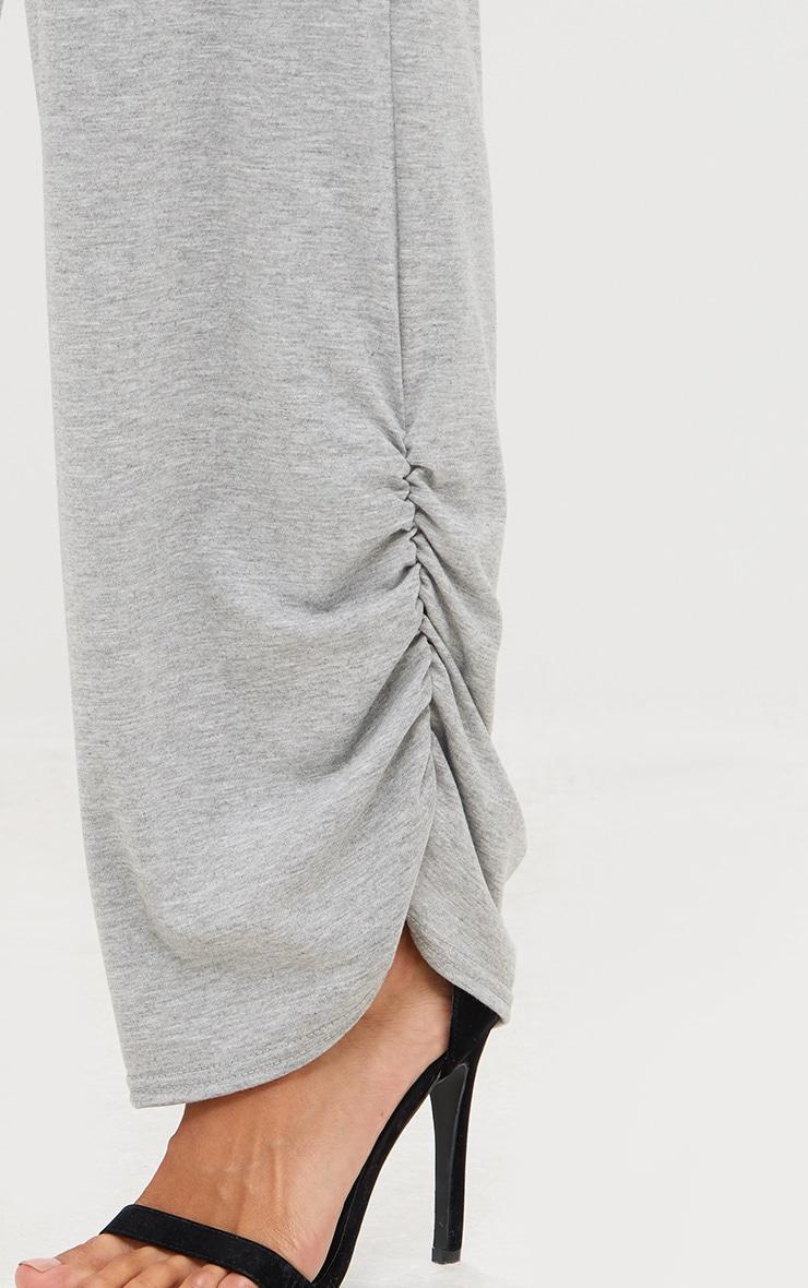 Grey Marl Jersey Ruche Hem Wide Leg Joggers 5