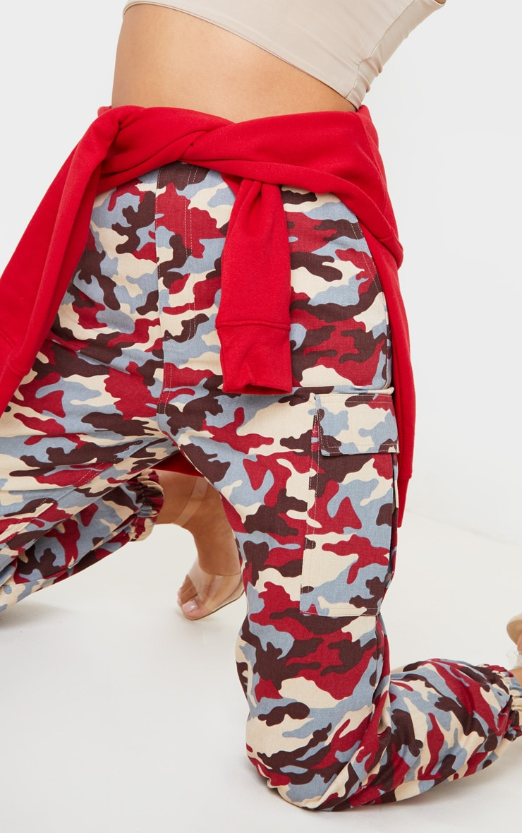 Red Camo Pocket Detail Cargo Trousers 6