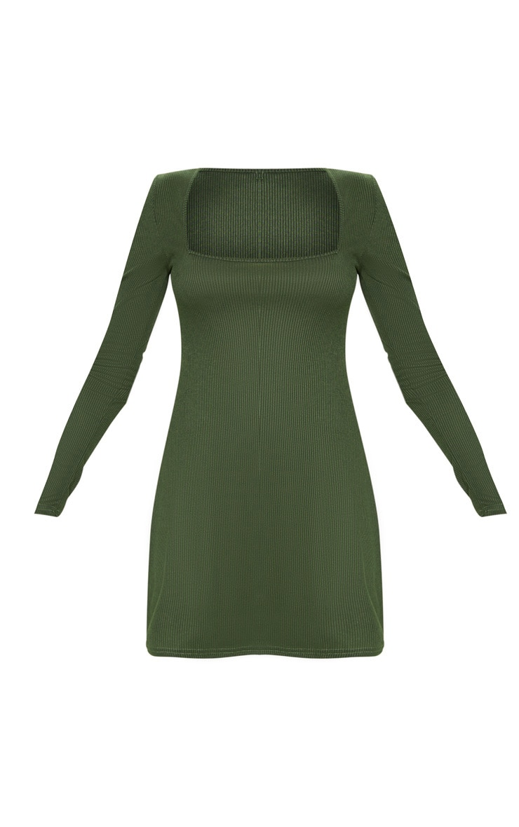 Khaki Ribbed Square Neck Long Sleeve Shift Dress 3