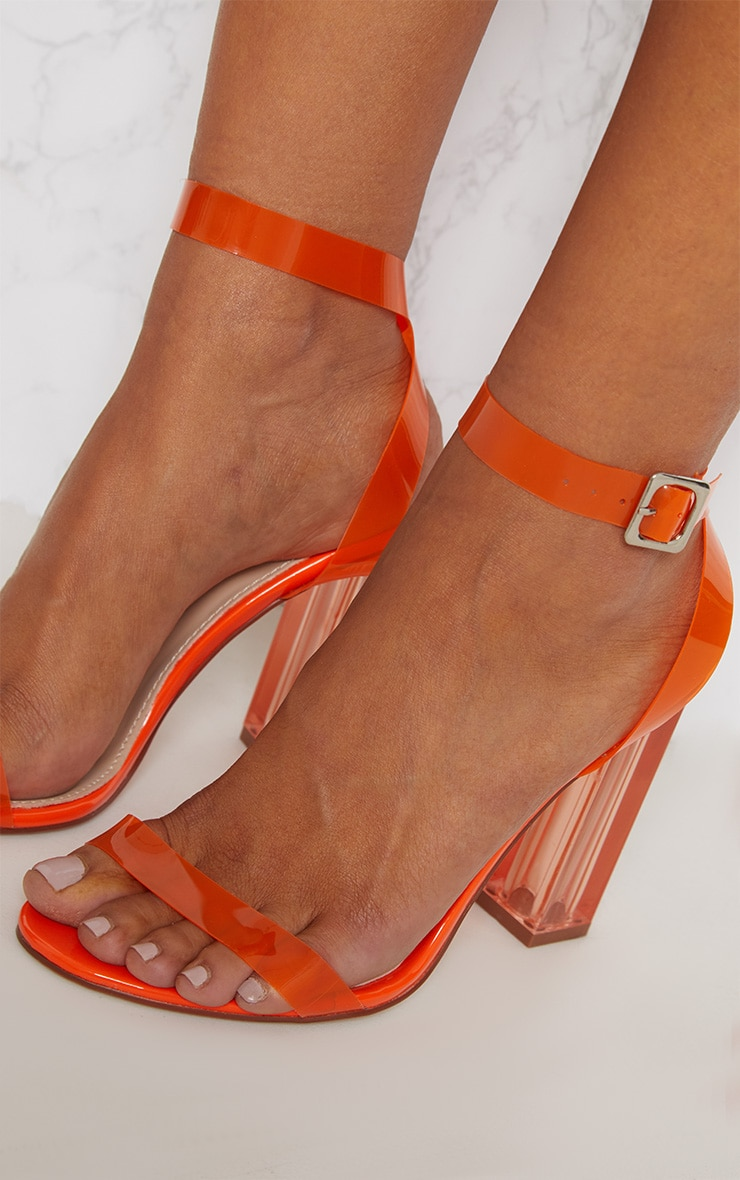 Orange Coloured Clear Strappy Heel 4