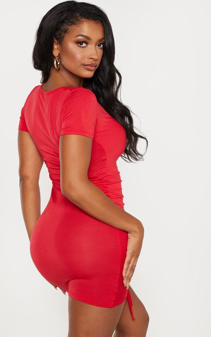 Shape - Robe en jersey froncé rouge à manches courtes 2