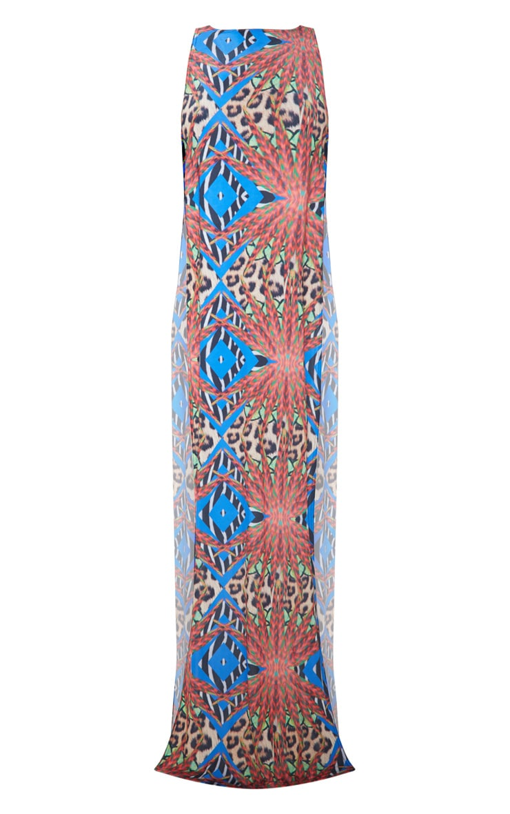Multi Mixed Jungle Print Ring Detail Maxi Dress 4