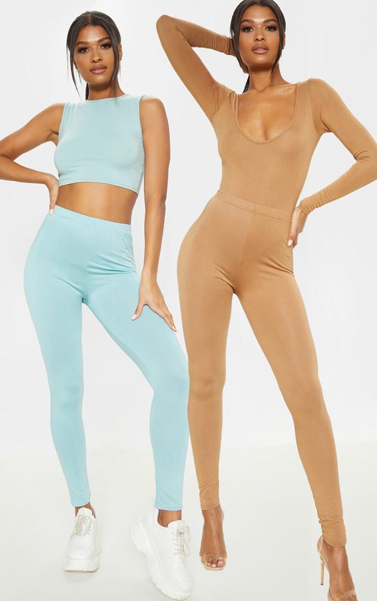 Camel and Sage Green Basic Jersey Leggings 2 Pack 1