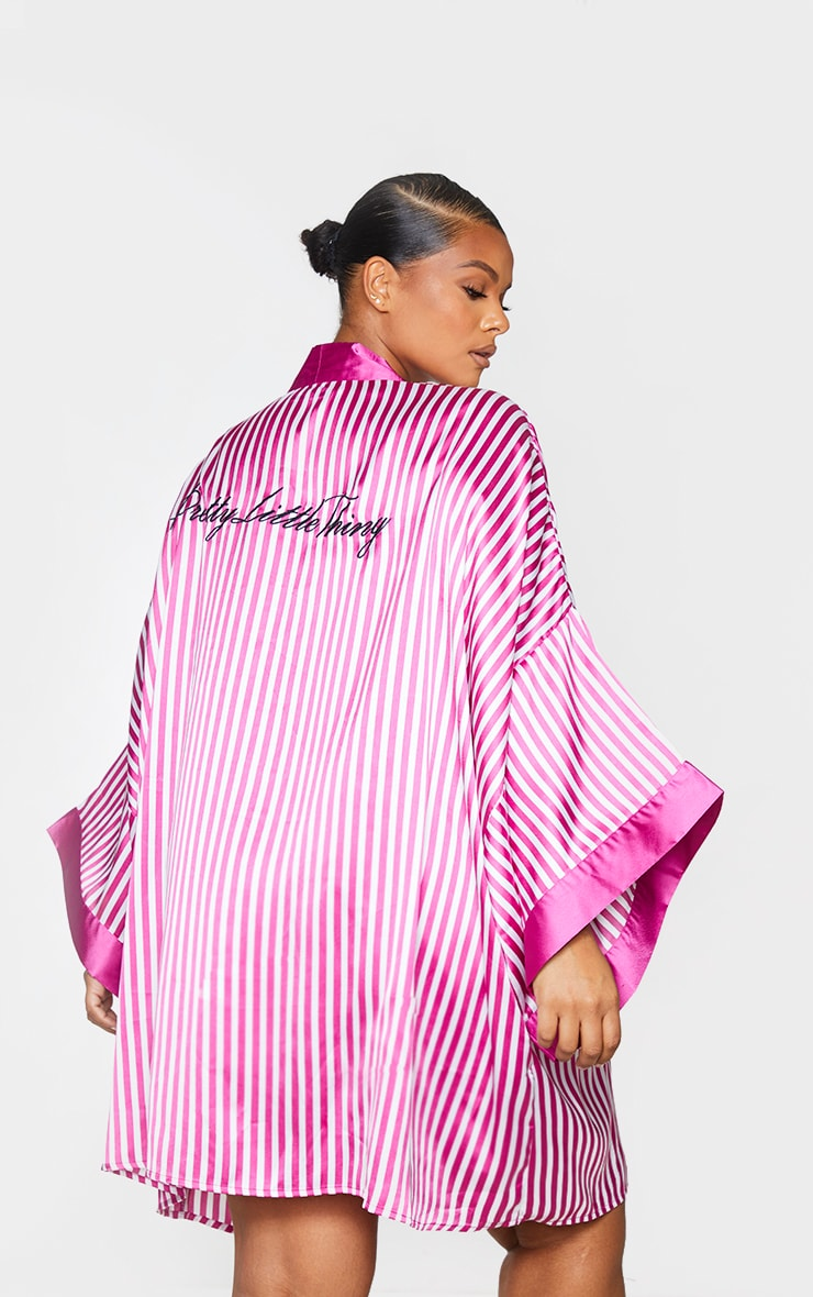 PRETTYLITTLETHING Plus Fuchsia Striped Satin Robe 2