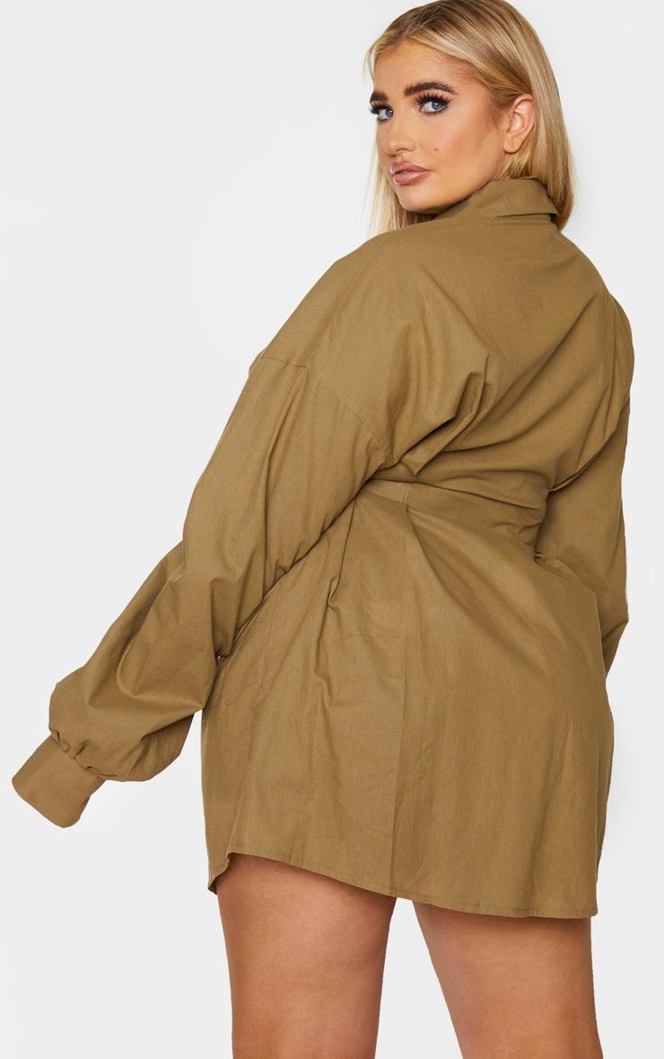 PLT Plus - Robe chemise kaki à détail plissé et manches ballon 2