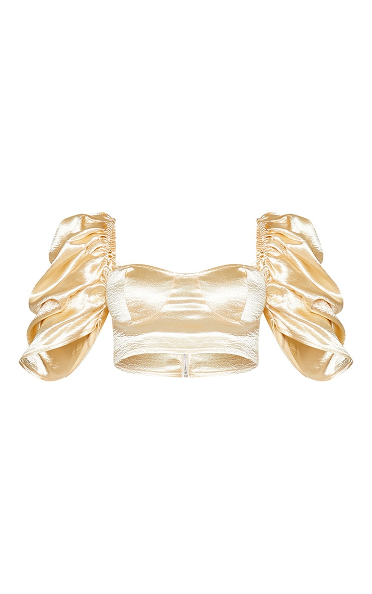 Cream Satin Ruched Puff Sleeve Cup Detail Crop Top 5