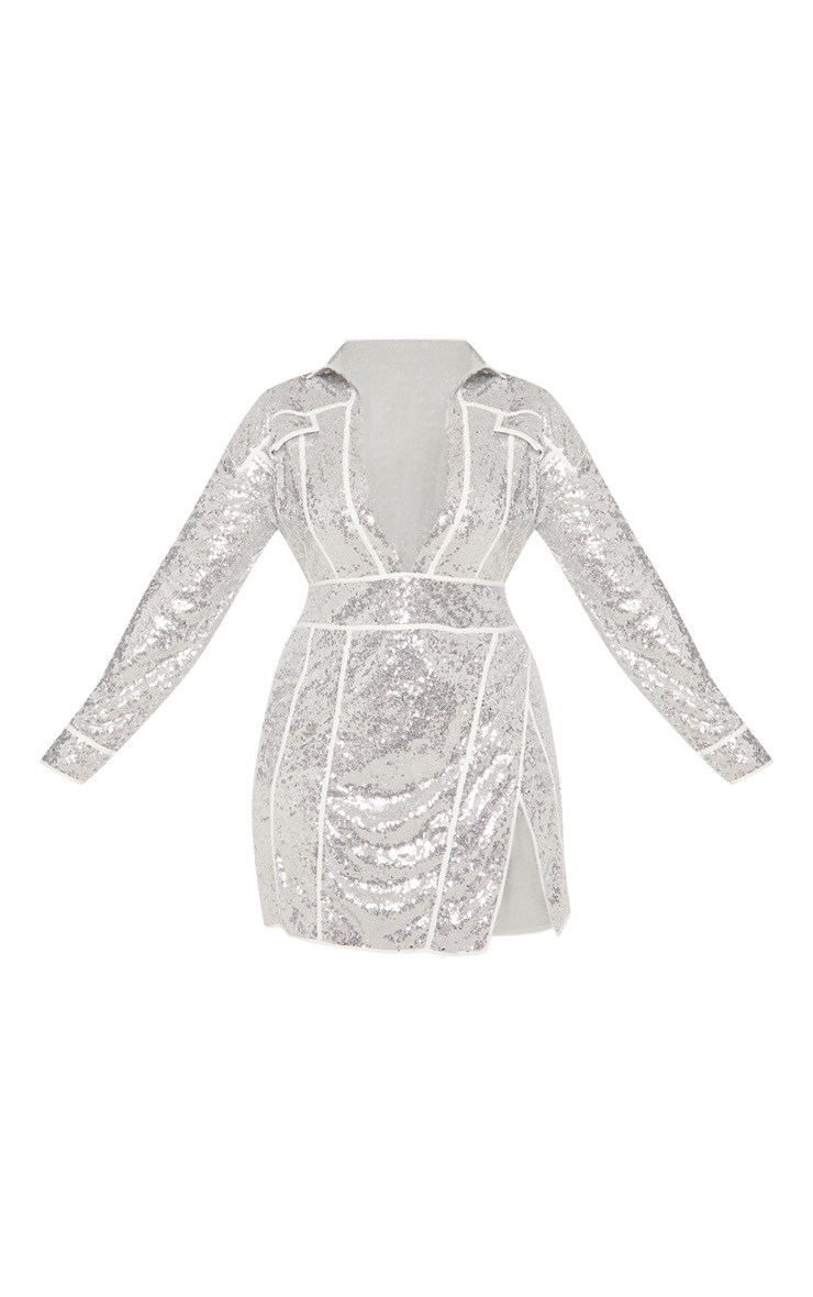 Plus Silver Sequin Piped Detail Bodycon Dress 4