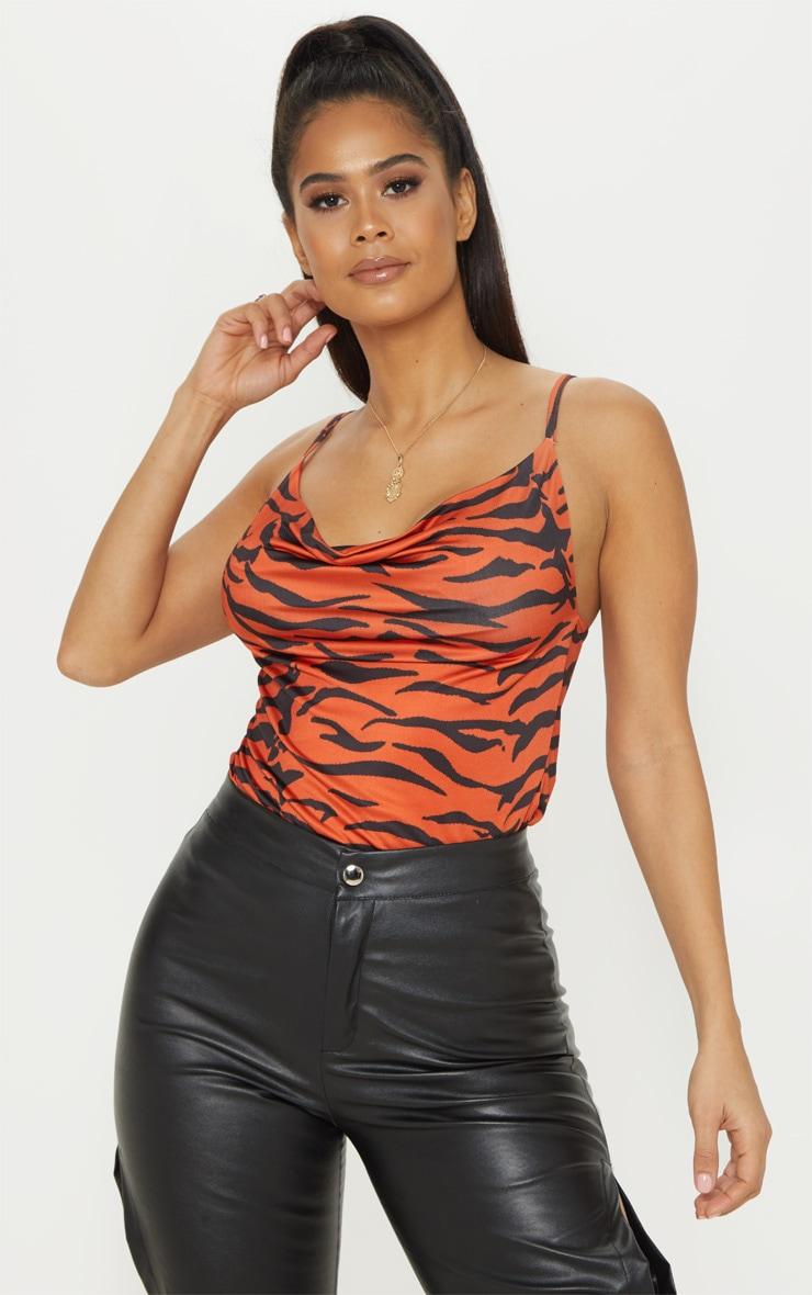 Orange Tiger Print Cowl Neck Cami 1