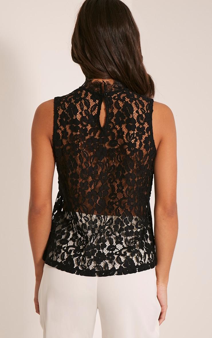 Edith Black Lace Vest Top 2