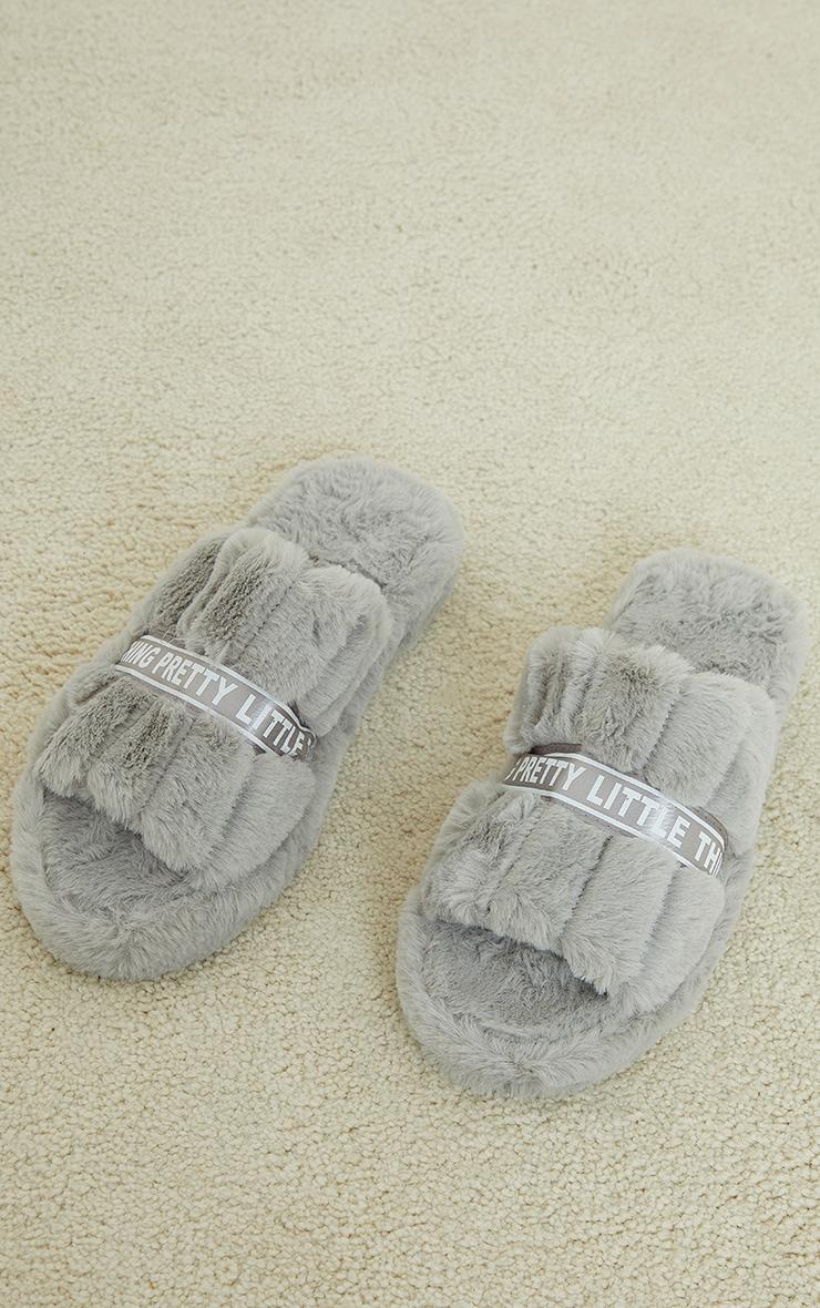 PRETTYLITTLETHING Grey Satin Logo Tape Slider Slippers 3