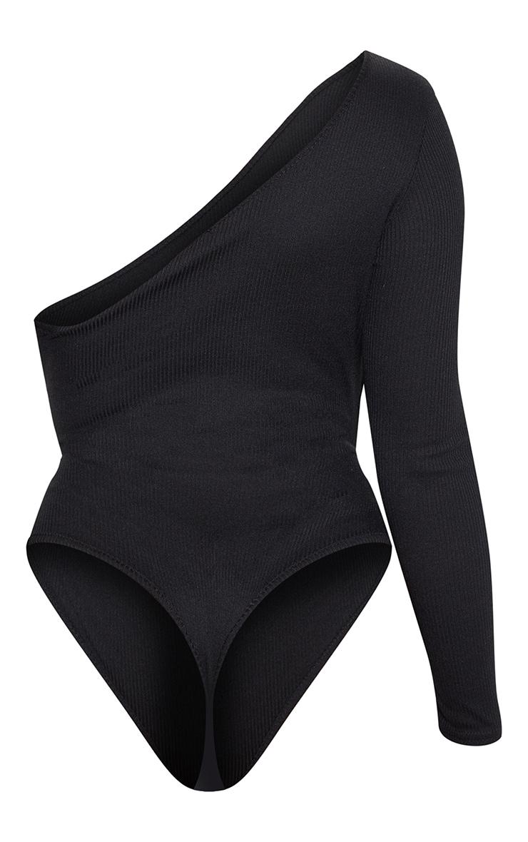 Petite Black Extreme Cut Out Asymmetric Long Sleeve Bodysuit 4