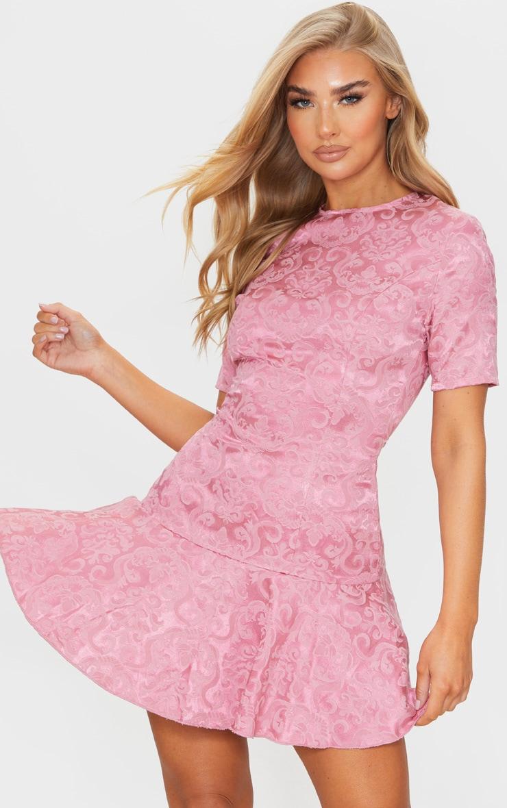 Rose Jacquard Frill Hem Short Sleeve Bodycon Dress 1