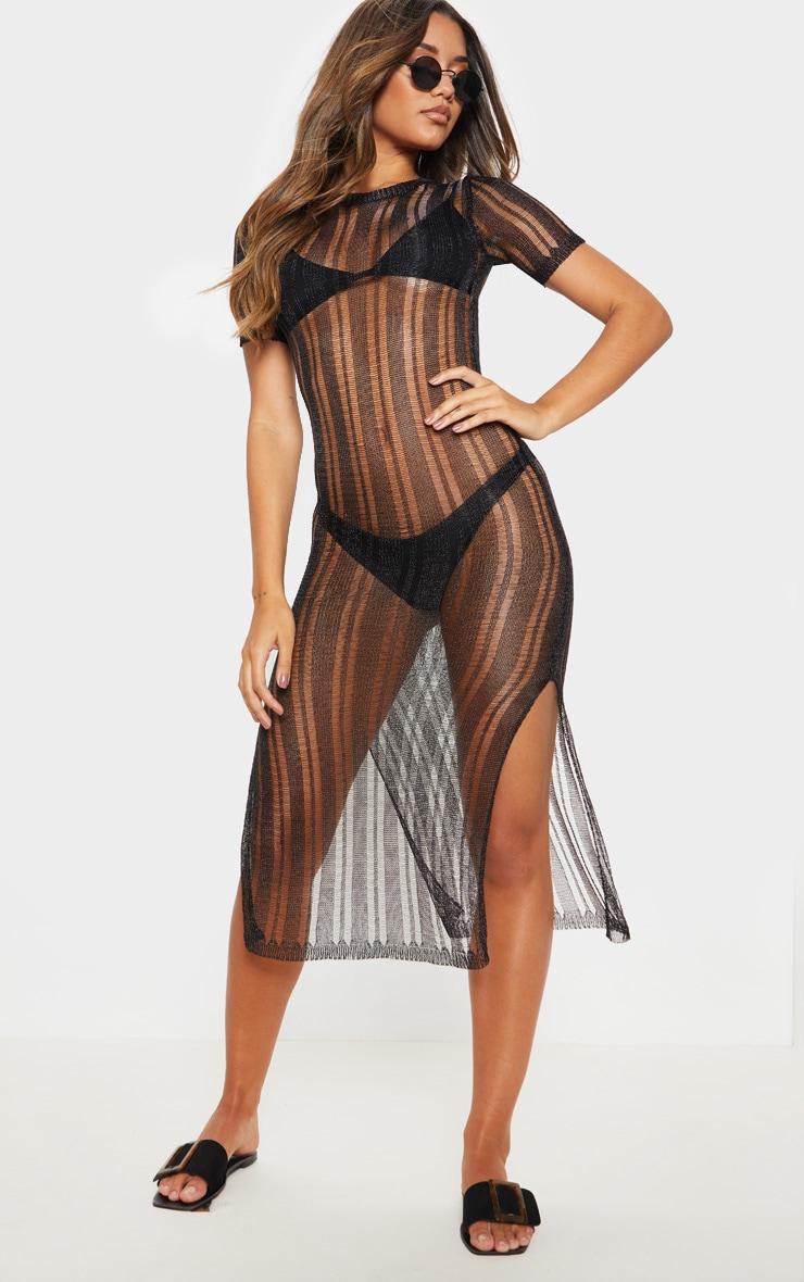 Black Metallic Knitted Midaxi Dress 4
