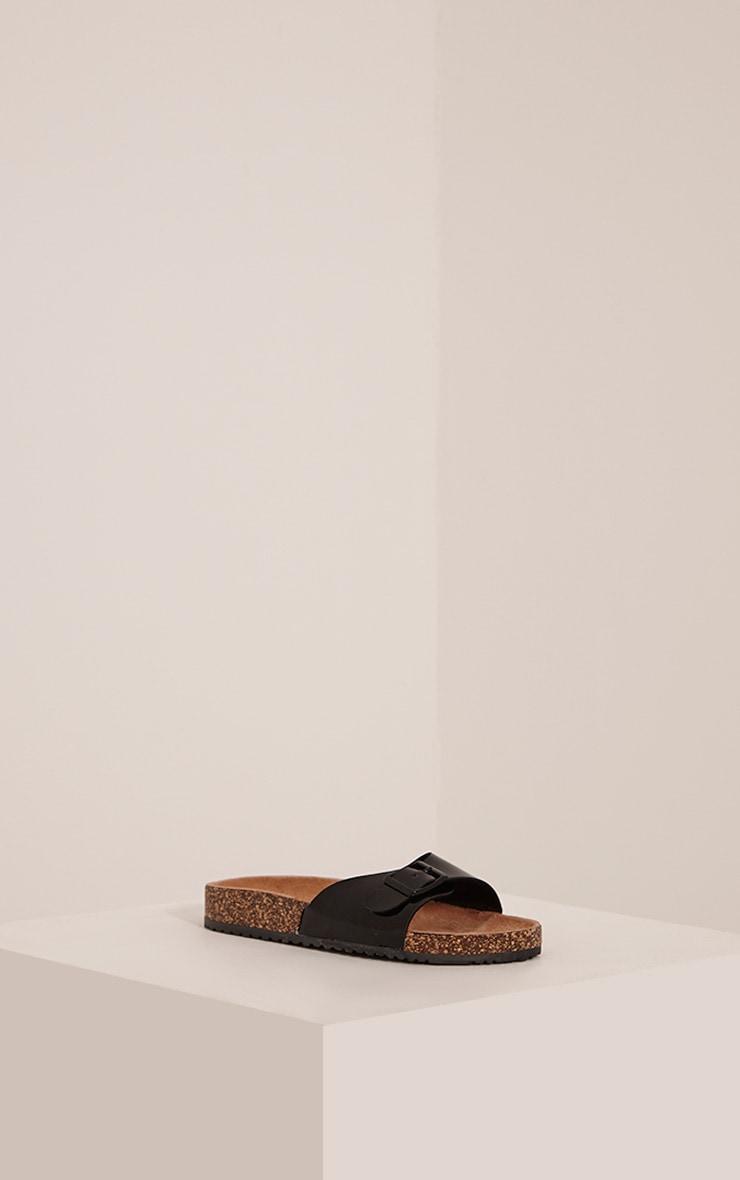 Liliy Black Patent Slip On Sandals 3