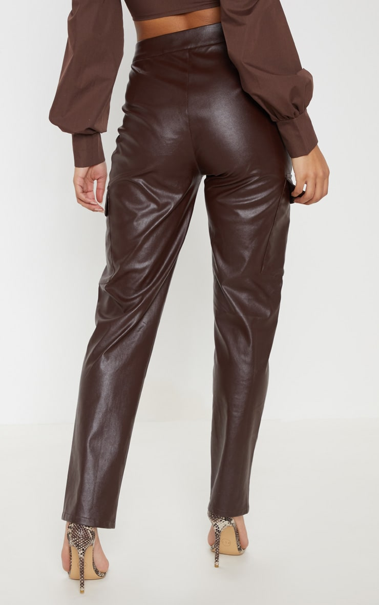 Chocolate Faux Leather Cargo Pocket Straight Leg Trouser  4