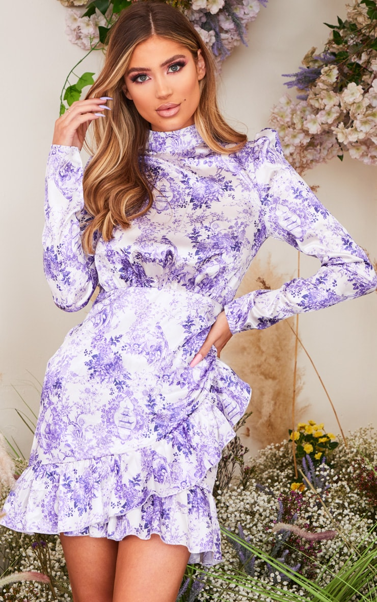 Lilac Porcelain Print High Neck Frill Detail Bodycon Dress 1
