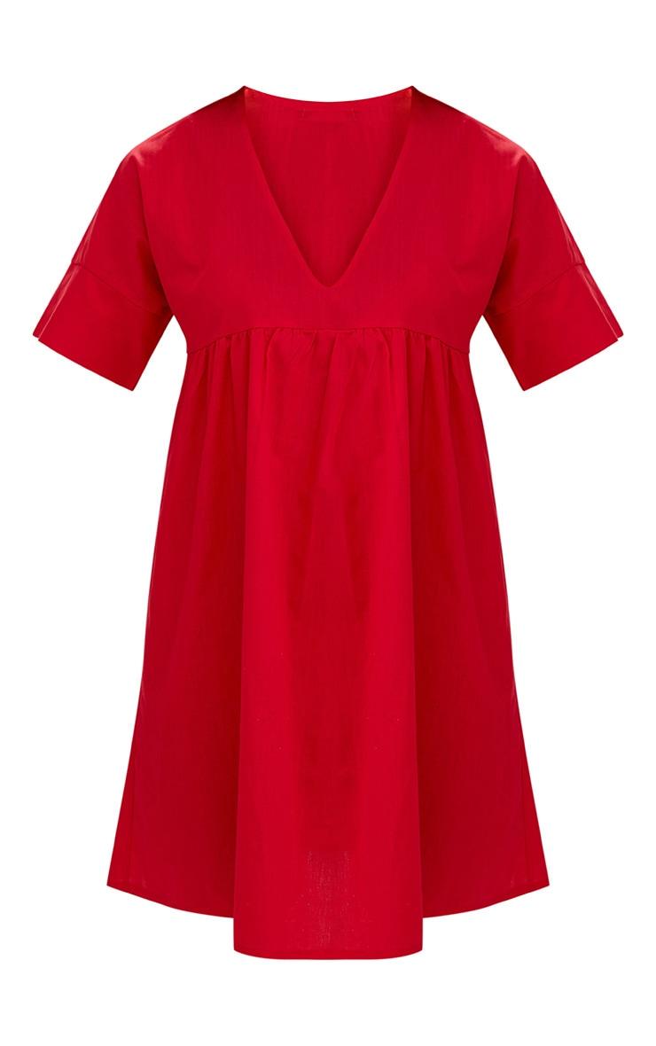 Red Poplin Smock Dress 3