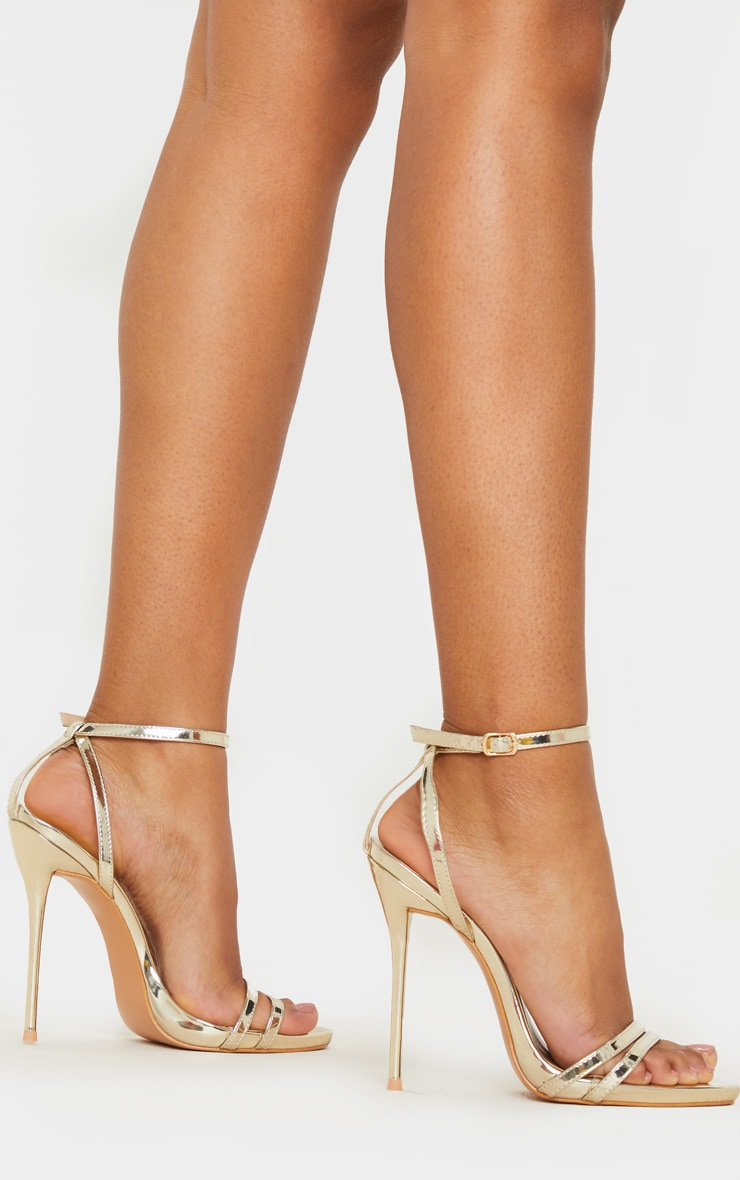 Gold High Strappy Sandal 1