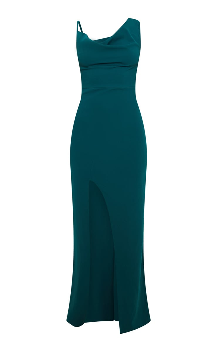Emerald Green Asymmetric Cowl Neck Maxi Dress 3