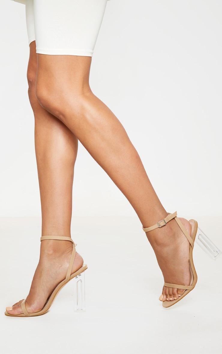 Nude Lycra Clear Block Heel Sandal by Prettylittlething